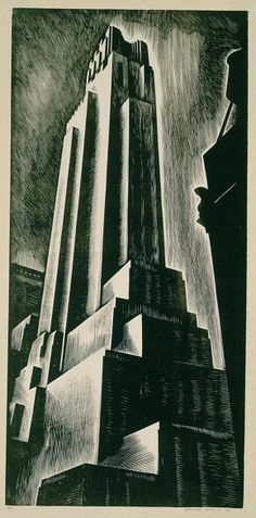 Skyscraper   by HOWARD COOK (1928) http://artnouveauanddeco.tumblr.com/post/7377240960/decoarchitecture-skyscraper-by-howard-cook