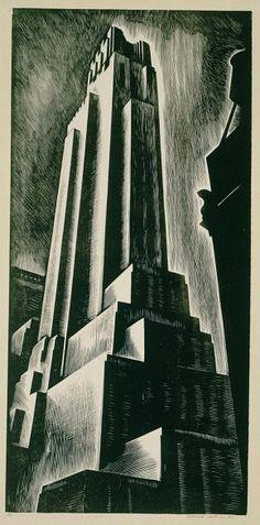 Skyscraper   by Howard Cook (1928)