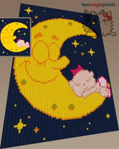 Sleeping Baby crochet graph/pattern JPG and PDF by TwoMagicPixels