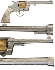 Colt Factory Engraved Model 1889 Double Action Revolver with Carved Pearl Eagle…