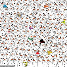 STRANGE CHRISTMAS FUN - FIND THE PANDA AMONG ALL THE SNOWMEN - HUNGARIAN ARTIST GERGELY DUDAS CREATED!