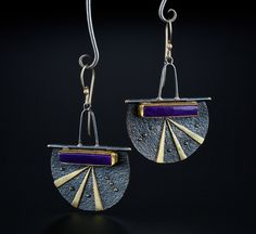 Sugilite Earrings. Fabricated Sterling Silver, 14k, 18k and 22k Gold. www.amybuettner.com https://www.facebook.com/pages/Metalsmiths-Amy-Buettner-Tucker-Glasow/101876779907812?ref=hl https://www.etsy.com/people/amybuettner http://instagram.com/amybuettnertuckerglasow