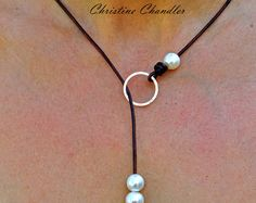 Pearl and Leather Necklace  5 Pearl Lariat  by ChristineChandler