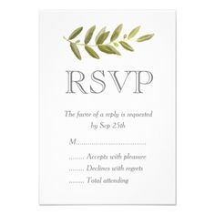 Shop Minimalist Green Olive Leaf Wedding RSVP Cards created by FancyMeWedding. Personalize it with photos & text or purchase as is! Wedding Response Cards, Custom Stationery, Wedding Rsvp, Olive Green, Minimalist, Place Card Holders, Invitations, Cards Diy, Weddings