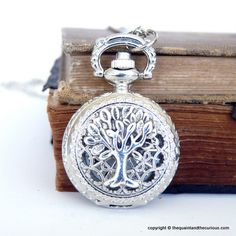 Tree of Life Pocket Watch Locket Necklace - Silver Jewelry -   Gift Present. $28.00, via Etsy.