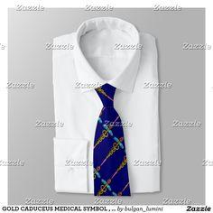 GOLD CADUCEUS MEDICAL SYMBOL , Blue Neck Tie