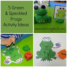 5 Green Speckled Frogs Activities - lots of fun play dough activities! (learning4kids)