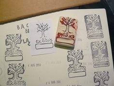 sello ex-libris con goma de borrar #blancagea