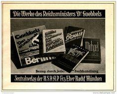 Original-Werbung/ Anzeige 1935 - WERKE DR.GOEBBELS / ZENTRALVERLAG DER NSDAP - EHER - MÜNCHEN - ca. 140 x 110 mm