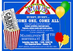 Signatures by Sarah: Carnival birthday invitation and ticket for Debbie