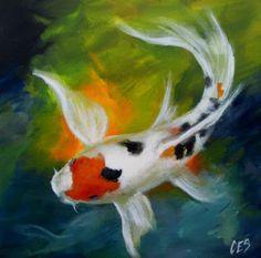 """Daily Paintworks - Original Fine Art © ~ces~ Christine E. Code - """"Splash"""" – Original Fine Art for Sale – © ~ces~ Christine E. Koi Fish Drawing, Fish Drawings, Coy Fish, Koi Fish Pond, Koi Art, Fish Art, Watercolor Fish, Watercolor Paintings, Abstract Paintings"""