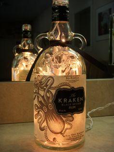 Recycled Kraken Rum Bottle Lamp (DIY just put the lights through the top)