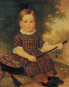Sweet antique portrait of a child in a Tartan outfit.  British School 19th Century.