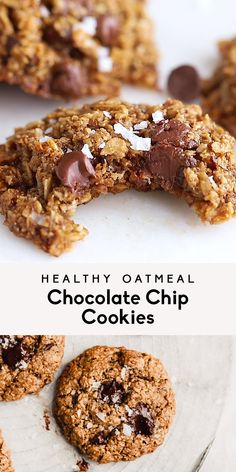 My very favorite healthy oatmeal chocolate chip cookies that just so happen to be vegan and gluten free. Healthy enough to enjoy for breakfast and perfect for lactating mamas or kids thanks to flax, o Healthy Oatmeal Cookies, Healthy Chocolate Chip Cookies, Healthy Cookie Recipes, Chocolate Chip Oatmeal, Healthy Sweets, Healthy Baking, Vegan Desserts, Healthy Fats, Healthy Zucchini Cookies