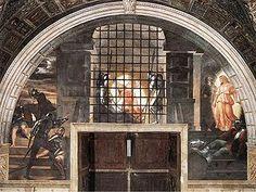 La Liberazione di san Pietro (Stanza di Eliodoro) è un affresco. Al centro, avviene l'apparizione radiosa dell'angelo nel carcere;A destra l'angelo conduce l'apostolo fuori dal carcere,in un'atmosfera tra sogno e realtà; A sinistra dei soldati scoprono la fuga, mentre si agitano al chiarore della luna e dei bagliori delle fiaccole, che accendono le loro armature di riflessi.