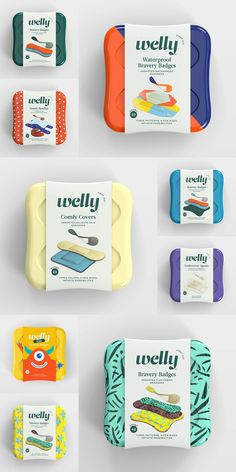 Brand New: New Logo and Packaging for Welly by Partners&Spade and Prime Studio. Holy cow this is just beautiful! Who new badges could be elevated to a lifestyle brand. Food Packaging Design, Packaging Design Inspiration, Brand Packaging, Branding Design, Product Packaging Design, Product Branding, Clever Packaging, Cafe Branding, Pouch Packaging