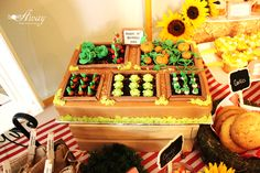 Amazing garden cake at a farmer's market birthday party! See more party planning ideas at CatchMyParty.com!