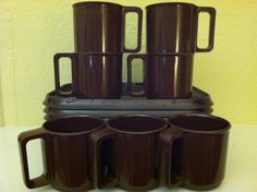 Set Lot Mid Century Modern Brown Rosti of by JustMidCentury