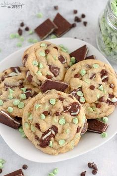 Big, soft cookies filled with Andes Mint Candies, Mint Chips and Chocolate Chips. Mint and chocolate in every delicious bite! No chill time - you can be enjoying these Mint Chocolate Chip Cookies in 30 minutes! #cookies #baking #mintchip #mint #chocolate Best Chocolate Chip Cookies Recipe, Chip Cookie Recipe, Mint Chocolate Chips, Chocolate Recipes, Cookie Recipes, Dessert Recipes, Brownie Recipes, Chocolate Cookies, Baking Recipes