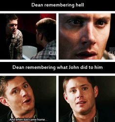 [gifset] You will never convince me that John didn't abuse Dean. Look at his face... This is painful! 4x01 Lazarus Rising - Dean remembering hell vs. 5x16 Dark Side Of The Moon - Dean remembering what John did to him. #SPN #Dean