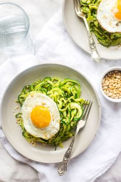 19. Zucchini Noodles With Everything Pesto and Fried Eggs #whole30 #recipes http://greatist.com/eat/whole30-dinner-recipes
