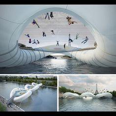 Un pont-trampoline au dessus de la Seine - projet du cabinet d'architecte AZC lors du concours lancé en 2012 pour le 38e pont de Paris