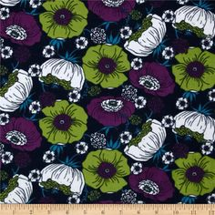 Kaufman 21 Wale Cool Cords Flowers Indigo from @fabricdotcom  From Kaufman, this soft 21 wale (number of cords per inch) corduroy is classic, durable and versatile. It is perfect for creating stylish shirts, skirts, dresses, light weight jackets and children's apparel. Colors include lime, amethyst, white and turquoise on a navy background.