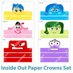 Inside Out is one of the favorite cartoons for kids that is on the air now. Inside Out Paper Crown Set allows you and your children create your own version of this wonderful story. You may be also interested in paper puppets of Inside Out characters https://www.etsy.com/listing/281695252.  --------------------------------------------------------------- SET CONSISTS OF: --------------------------------------------------------------- 6 crowns with characters of Inside Out such as: • Joy •…