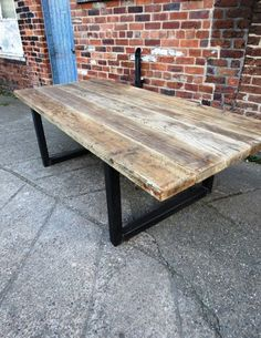 £445 . Reclaimed Industrial Chic 10-12 Seater Solid Wood and Metal Dining Table.Cafe Bar Restaurant Furniture Steel and Wood Made to Measure