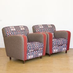 cool chairs upholstered in Swiss army blankets