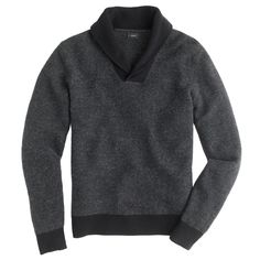 J.Crew men's shawl-collar sweatshirt in black.