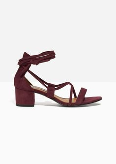 1042c87b719af Other Stories image 1 of Suede Lace Up Sandalette in Burgundy Printemps,  Chaussure, Mode