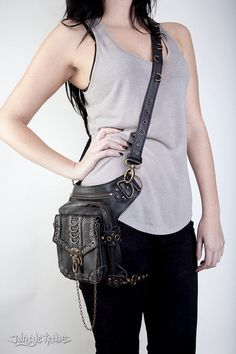 Blaster 3.0 Black Leather Hip Bag by Jungle Tribe von JungleTribe