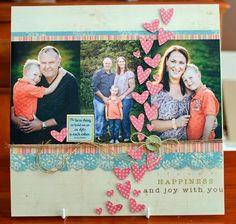 kim arnold for lily bee design--love these little hearts! 12x12 Scrapbook, Scrapbook Page Layouts, Scrapbook Paper Crafts, Scrapbook Albums, Scrapbooking Ideas, Baseball Scrapbook, Cute Scrapbooks, Multi Photo, Bee Design
