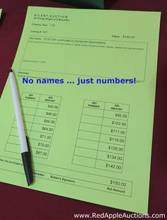 A big misconception is that guests will wildly bid against others if they know whom they are bidding against. Not true! Use silent auction bid numbers.