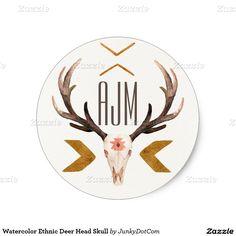 Watercolor Ethnic Deer Head Skull Classic Round Sticker @zazzle @junkydotcom 2x