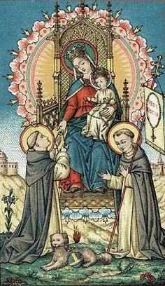 The Blessed Mother giving St Dominic the Gift of the Rosary!