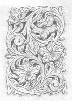 Floral carving pattern Basic Leaf Style and design Learners begin by Studying fundamental cutting strategies, developing a essential leaf from cucumber. Leather Stamps, Leather Art, Leather Design, Leather Tooling, Custom Leather, Handmade Leather, Leather Jewelry, Wood Carving Patterns, Carving Designs