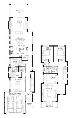 We can base plans off standard designs or do custom designed homes to suit any budget. Double Storey House Plans, Narrow House Plans, Beach House Plans, Duplex House Plans, House Floor Plans, 2 Storey House Design, Modern House Design, Brownstone Homes, Townhouse