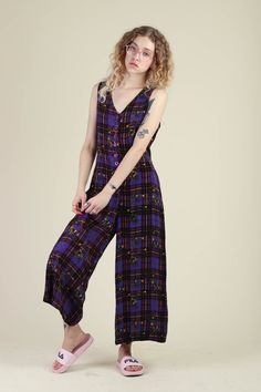 a4df8c0872c vintage 80s 90s PURPLE + PLAID rope BUGGY cropped jumpsuit S   car novelty  print romper wide leg pants 1980s 1990s small