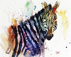 ZEBRA Watercolor Print by Dean Crouser by DeanCrouserArt on Etsy