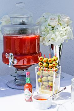 Bloody Mary Bar- simple version. Maybe cute for upcoming couples shower.