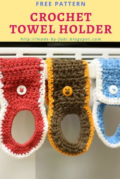 How to crochet a towel holder using cotton yarn.