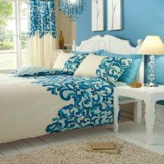 Creme Türkis Bettwäsche Set für Doppelbett 200 x200 Bettbezug , 2x Kissenbezüge 48x74 cm , Moderne Luxus Bettwäsche-Set Saville: Amazon.de: Küche & Haushalt