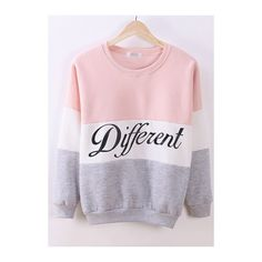 Rotita Letter Pattern Long Sleeve Round Neck Pink Sweatshirt ($16) ❤ liked on Polyvore featuring tops, hoodies, sweatshirts, pink, round neck top, pink long sleeve top, patterned sweatshirts, sweater pullover and long sleeve tops