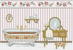 Vasca 03 Cross Stitch Embroidery, Cross Stitch Patterns, Room Signs, Bassinet, Needlepoint, Decoupage, Shabby Chic, Crafts, Workshop