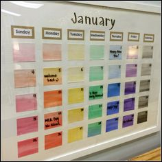 Pretty, Organized Classroom-- classroom calendar on a glass frame-- genius!