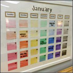 Pretty, Organized Classroom-- classroom calendar on a glass frame-- genius!
