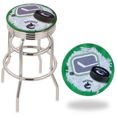 The Vancouver Canucks Retro Chrome Ribbed Ring Bar Stool has a cushion with a tough double-ring base, chrome finish and a accent ring. Vancouver Canucks, Double Ring, Nhl, Bar Stools, Chrome, Retro, Rings, Bar Stool Sports, Counter Height Chairs