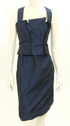 Max Mara Navy Blue Satin Sleeveless Pleated Dress Size US 12 #MaxMara #PleatedDress